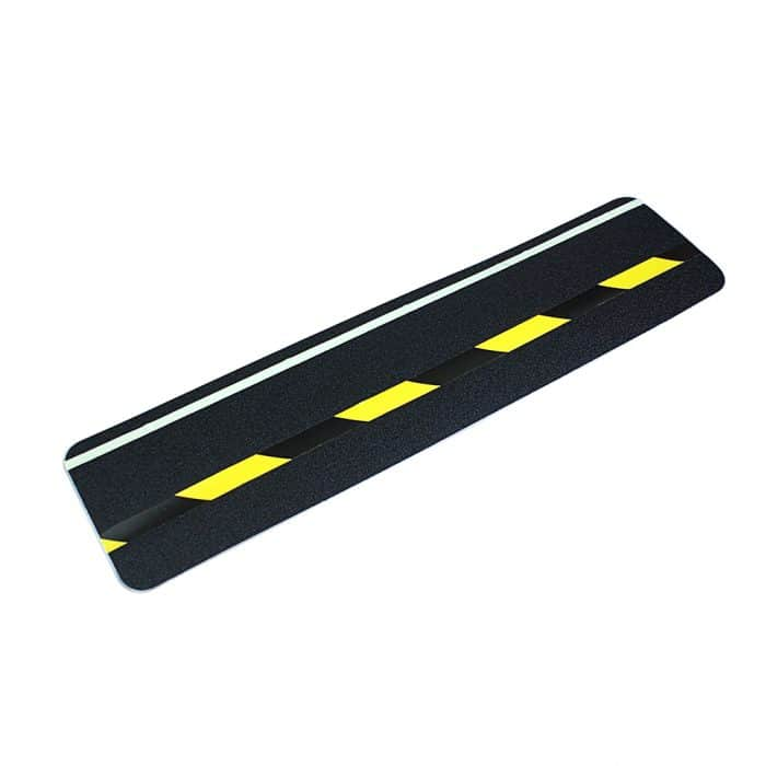 GripFactory Antislip Glow in the Dark Tape - strook met strip en zwart/geel 150 x 610 mm